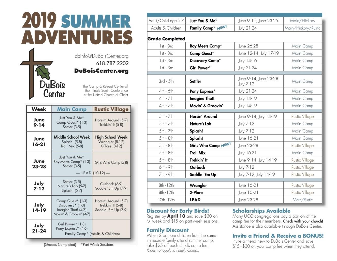 2019 Camp Schedule